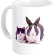 Twin BUNNY RABBIT Kitten Easter Animals 330ml Ceramic Coffee Mug