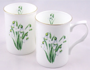 Fine English Bone China Mugs - Set of Two - Snowdrop Chintz - Made in England