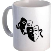 FUNNY FACE Comedy Tragedy Masks Humour 330ml Ceramic Coffee Cup Mug