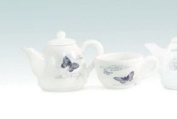 Two Piece French Botanical Black and Cream Butterfly Tea Cup and Pot Set