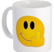 FUNNY FACE F You Smiley Finger Humour 330ml Ceramic Coffee Cup Mug