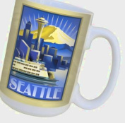 TreeFree Greetings 79425 Seattle Sunrise by Paul A. Lanquist Ceramic Mug with Full-Sized Handle, 440ml, Multicoloured