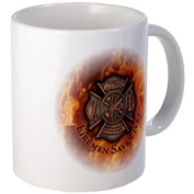 FIREMEN SAVE LIVES Firefighter Rescue Heroes Ceramic 330ml Coffee Cup Mug