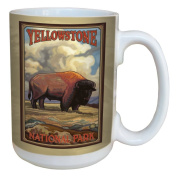 TreeFree Greetings 79462 Yellowstone National Park Buffalo by Paul A. Lanquist Ceramic Mug with Full-Sized Handle, 440ml, Multicoloured