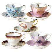 Royal Albert 100 Years of Royal Albert Teacups and Saucers, Set of 5, 1950-1990