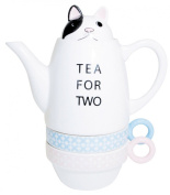 Tea For Two Porcelain Teapot and 2 Tea Cups Set - Dog