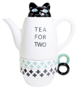 Tea For Two Porcelain Teapot and 2 Tea Cups Set - Cat