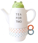 Tea For Two Porcelain Teapot and 2 Tea Cups Set - Frog