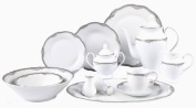 Lorenzo Import Elizabeth 57-Piece Wavy Porcelain Dinnerware Set