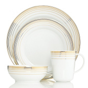 Charter Club Dinnerware, Infinity Gold 4 Piece Place Setting