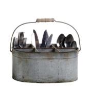 Shabby Cottage Chic Tin Utensil Silverware Caddy