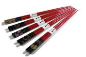Miya Assorted Night Sky Chopsticks, Red/Black, Set of 5