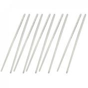 5 Pairs Nonslip Handle Tapered Round Metal Chopsticks Silver Tone