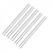 Silver Tone Round Top Stainless Steel Chopsticks 5 Pairs