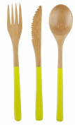 Core Bamboo Matte Finish 3-Piece Modern Bamboo Cutlery Set, Lime