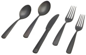 "Herdmar ""Perugia"" 18/10 Stainless Steel 5-Piece Placesetting, with PVD Black Mirror Finish"