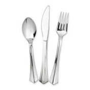 Wna Comet Plastic Cutlery, 25 Ea Forks/Knives/Spoons, 75/Pk, Silver