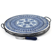 Ceramic Blue Braid Cheese Serving Set 3 Piece