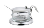 Salt Server / Cheese Bowl / Condiment Serving Bowl & Spoon Set - Fine Stainless Steel Serveware for Your Home