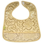 I Frogee Brocade Baby Bibs in Gold Fortune Flower Print