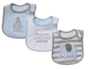 3pk Snap Closure Bib Carter's Little Lafayette Feeding Bibs One Size, This Is What Handsome Looks Like; Mommy Loves Me, Elephant