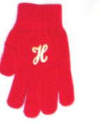 One Size Red Colour Magic Gloves Trimmed with Customer Chosen Ivory Monogram Letter for Infants Ages 0-4 Years
