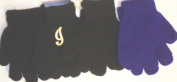 Set of Four Pairs of One Size Magic Stretch Gloves for Infants Ages 0-1 Year with Customer Chosen Ivory Monogram Letters for One of Three Blacks