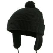 Toddler Beanie Hat with Ear Flaps - Black W20S11C
