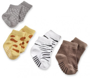 Baby Aspen BA15011AS Sock Safari Four-Pair Animal-Themed Sock Set