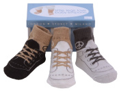 Baby Emporio - 3 Pairs Peace Socks - Anti Slip Soles, for Baby Boy 0-9 months, Keepsake Boxes