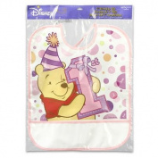 Plastic Bib Winnie the Pooh 1st Birthday Day Girl 33.7cm h x 27.9cm l