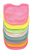 Neat Solutions 8 Pack Multi-Colour Solid Knit Terry Feeder Bib, Girl