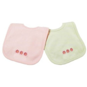 Princess Linens Cotton Knit Bib Set with Daisy Motif, Pink/Sage