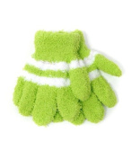 New Kid's Green With White Striped Magic Winter Gloves KSTG3301
