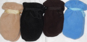 Set of Four Pairs One Size Mongolian Fleece Mittens for Infants Ages 0-6 Months
