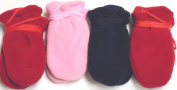 Sg.029, Set of Four Pairs One Size Very Warm Mongolian Fleece Mittens for Infants Ages 3-6 Months