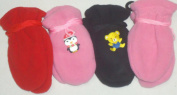 Glv287 Set of Four Pairs of Finest Mongolian Fleece Mittens for Infants Ages 3-12 Months