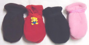 Sj.003, Set of Four One Size Mongolian Fleece Very Warm Mittens for Infants Ages 3-6 Months