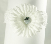 3-in-1 Gerber Daisy Flower Hair Clip Bow on Soft Stretch Crochet Child Headband fits Babies to Toddlers to Youth Girls, White on White Headband