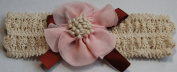 Handcrafted Cotton Headband with Pink Flower / Brown Ribbon for Girls