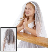Religious Irish Catholic Silk Shamrock Nylon Mesh Girls First Communion Headband Veil