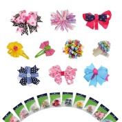 "Bundle Monster 10 piece Girl Baby Toddler Ribbon Bows Mixed Design Hair Clip Barettes in ""BM"" Gift Package"