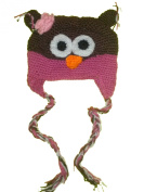 Owl Beanie Knitted Hat - Pink & Brown - W/ Pink Flower