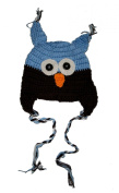 "BLUE & BROWN OWL Baby Hat Photo Prop Crochet Baby Hat Gift for Boy & Girl (Hand Made) by ""BubuBibi"""