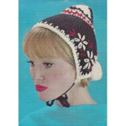 Vintage Crochet PATTERN to make - Warm Flower Snow Hat Cap Girls. NOT a finished item. This is a pattern and/or instructions to make the item only.