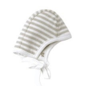 Melondipity Boy or Girl 100% Organic Cotton Striped Pilot Baby Hat - Reversible Brown and White Aviator Infant Beanie - One Size for Newborn to 3.63kg