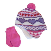 Faded Glory Infant & Toddler Girls Pink Heart Pom Beanie & Mittens Hat Set