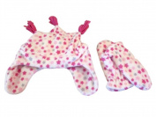 Faded Glory Toddler Girls Pink Stars Fleece Trapper Hat & Mittens Set Joker