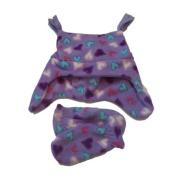 Faded Glory Toddler Girls Purple Heart Fleece Trapper Hat & Mittens Set Joker
