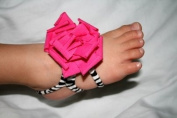 "Barefoot Petal - 1 Pair Baby Soft Wrap Flower Sandals/ Hair Scrunchy/ Hand Band by ""BubuBibi"" - HOT PINK FLOWER WITH ZEBRA"